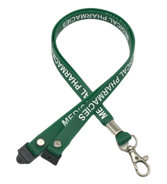 Green silicone lanyard with safety clip and metal swivel hook. It also has a 1 colour logo printed in white.