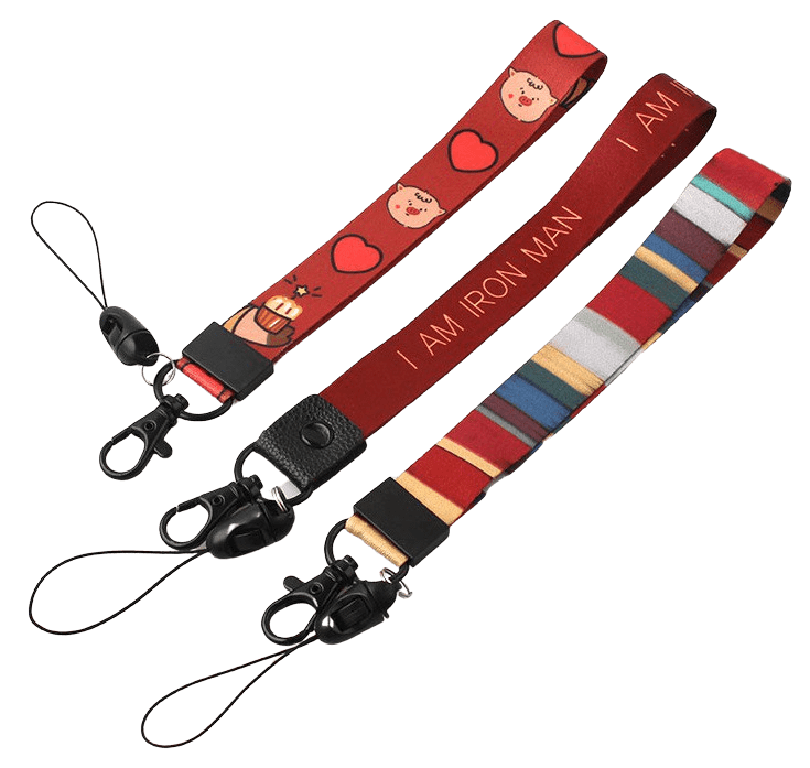 Small lanyard with heat transfer logo. This design also features a swivel hook and mobile string.