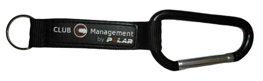 Black keyring lanyard with split ring and carabiner hook. It features a logo stiched over the top of the base material.