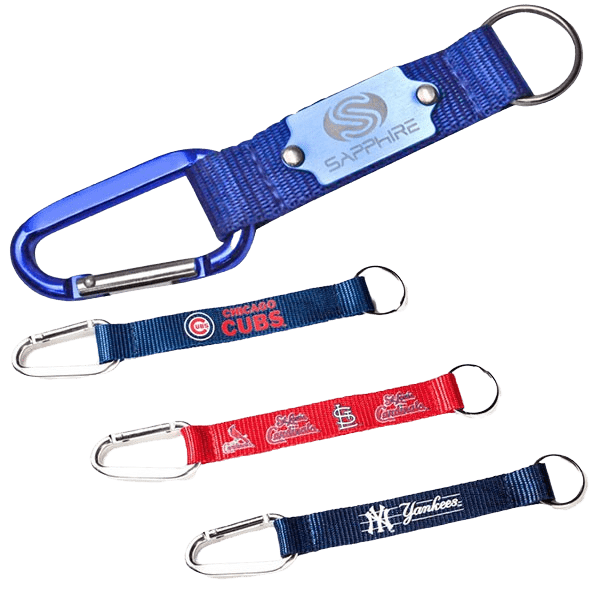 Keyring lanyards in various designs with carabiner hooks and split rings.