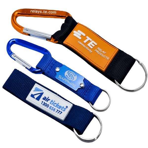 Keyring lanyards in various designs. They feature a carabiner hook and split ring.