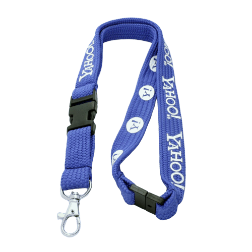 Blue tube lanyard with safety buckle and plastic breakaway. This tubular lanyard also features a metal swivel hook and 1 colour logo.