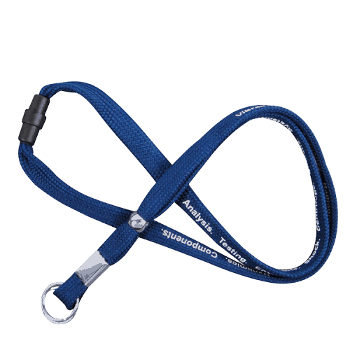 Blue tube lanyard with 1 colour logo, safety breakaway clip and split ring.