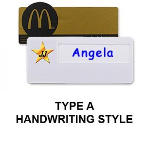 Custom plastic badge with a handwriting style finish.