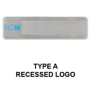 Custom metal name tag Type A with a recessed logo.