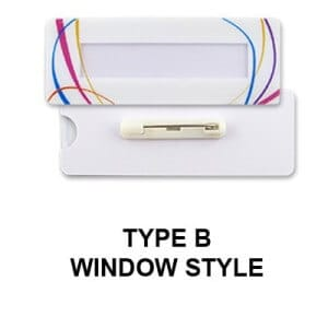 Custom metal name tag Type B with a Window Style design.