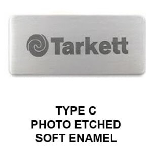 Custom metal name tag Type C with a photo etched soft enamel finish.