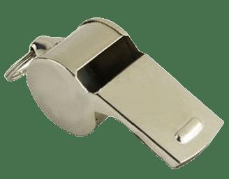 Custom metal whistle in silver nickel plating.