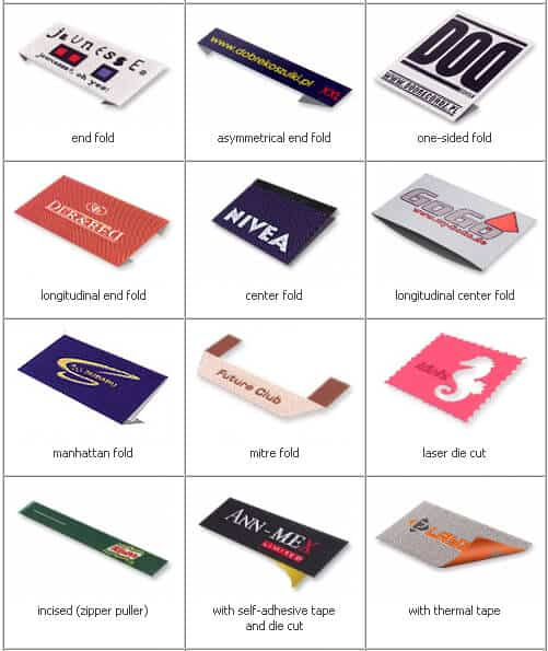 This chart features the various material fold options available when QW Direct manufactures woven patches and woven labels.