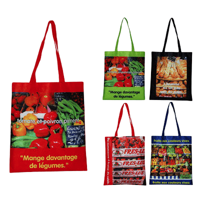 Examples of printed cotton shopping bags with a high resolution full colour logo applied.
