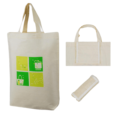 Printed folding cotton bag with a two colour logo.