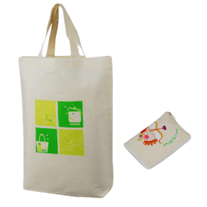 Printed cotton bag with a two colour logo. It folds into a pouch with a zipper.