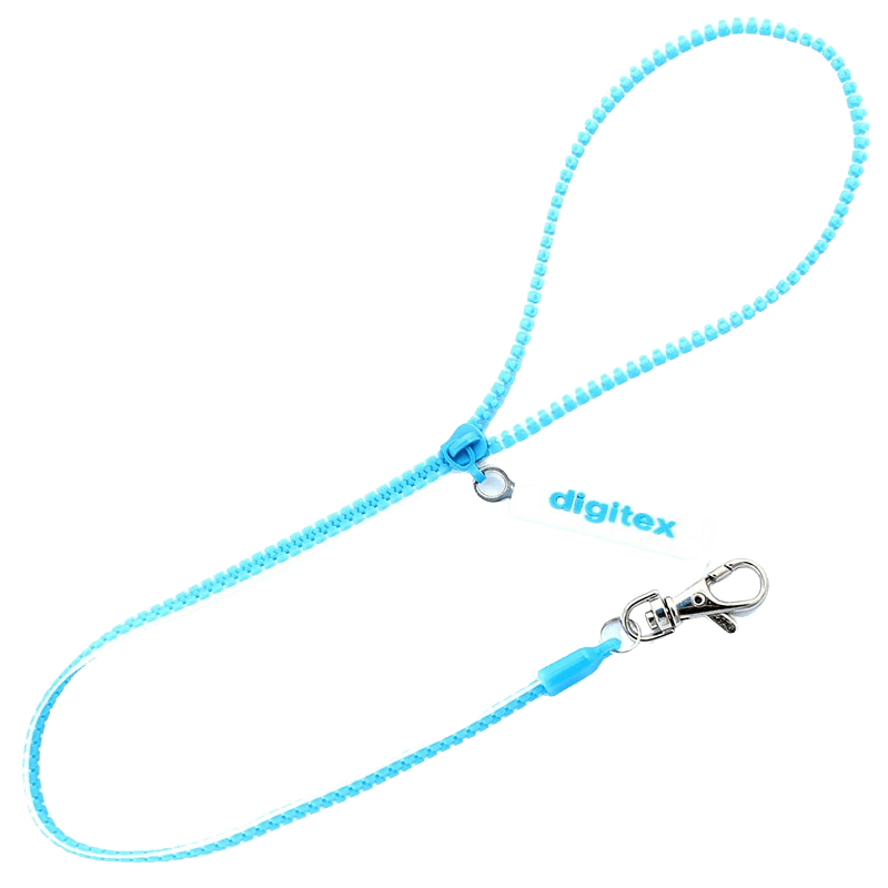 Blue zip lanyard with a metal swivel hook and rubber 2D logo attached.