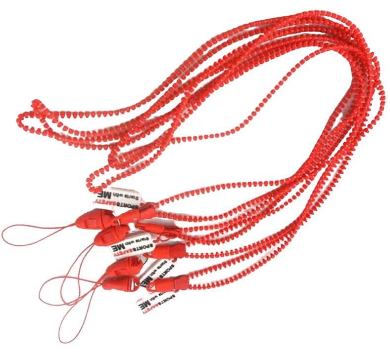 Red zip lanyard with a rubber logo attached and mobile phone string.