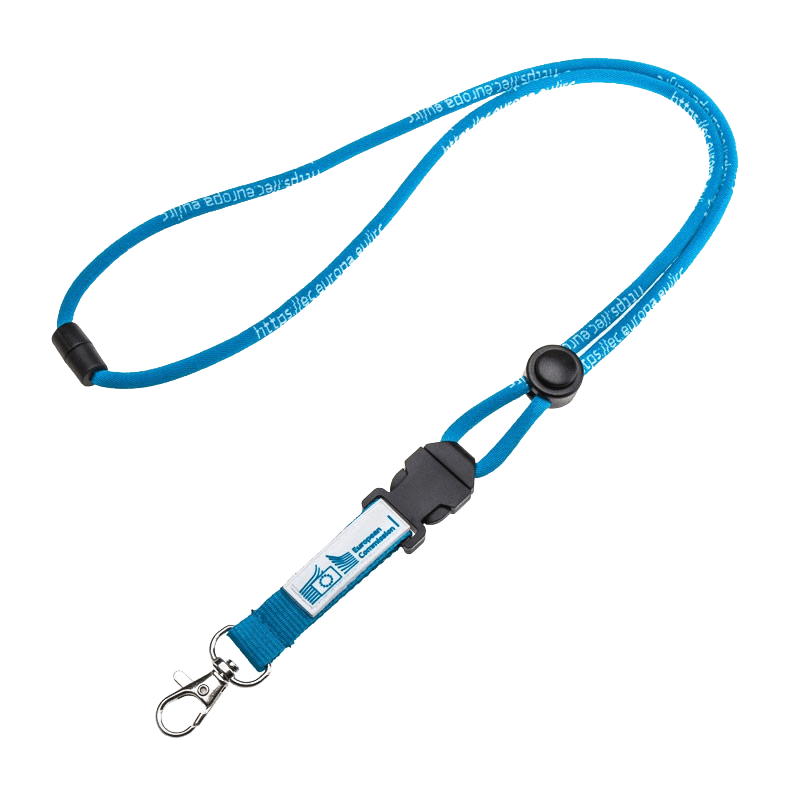 Corded lanyard with a metal swivel hook and plastic breakaway clip.