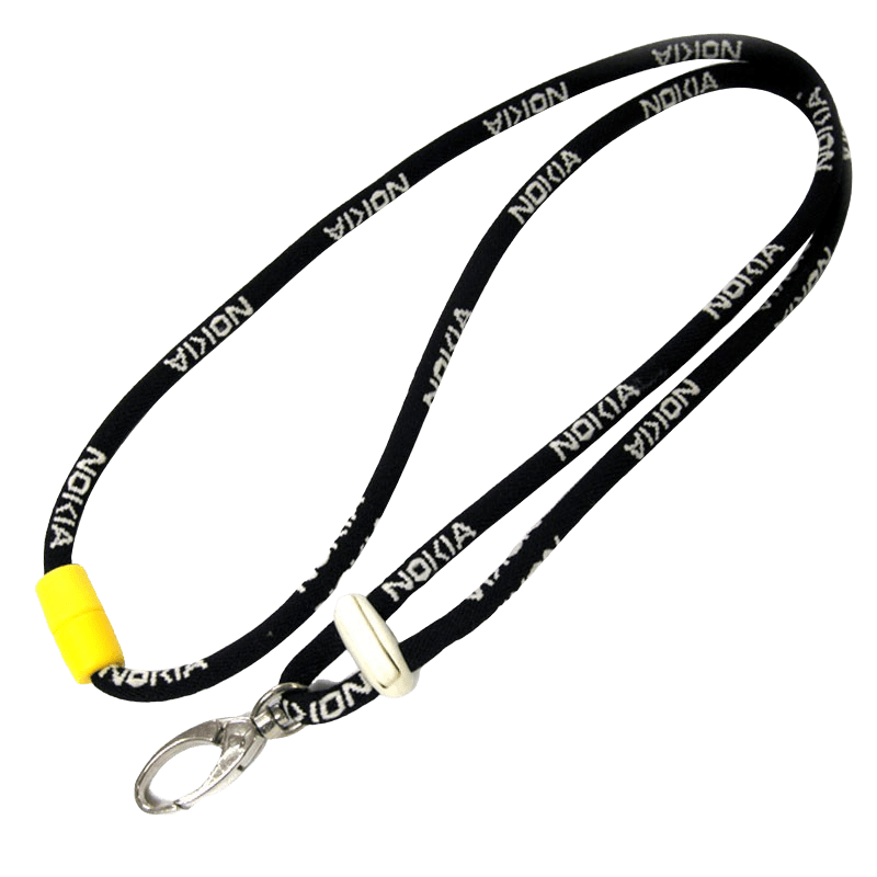 Corded lanyard with a metal swivel hook and 1 colour logo.