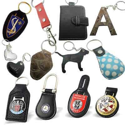 Various custom leather keyrings in numerous designs.