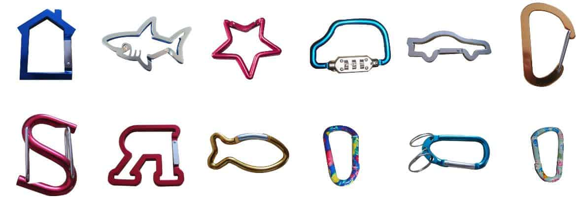 Custom shaped carabiner hooks. Examples shapes include house, fish, star, car lock, car, and letter shaped.