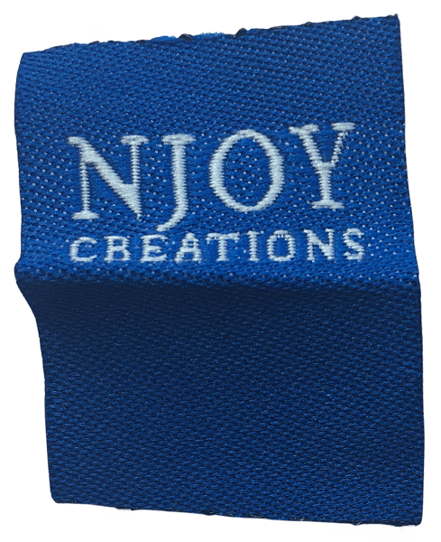 Blue custom woven label with a white logo for use as a clothing tag.