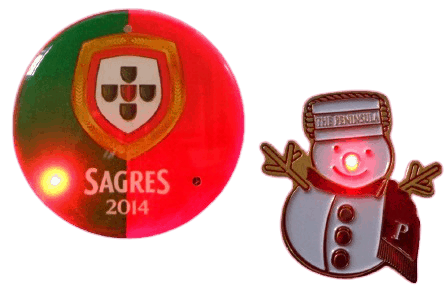 Custom LED button badge. Creates a real wow factor compared to the traditional button badge.