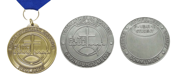 Custom made medals for a Christian college sporting team.
