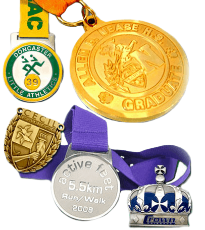 Various custom medal designs with attached ribbons. One has a gold plating and the other one has silver.