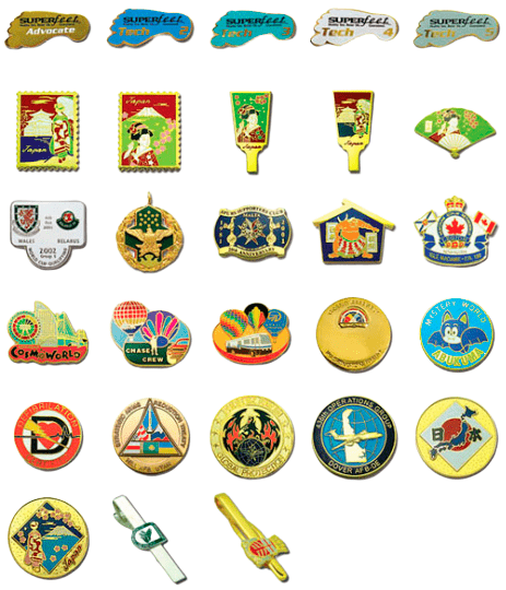 Example of custom metal badges made with an imitation enamel process.