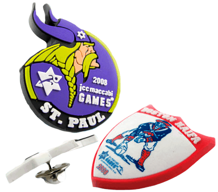 Custom rubber badge example designs with a 2D raised logo to create an amazing branding impression.
