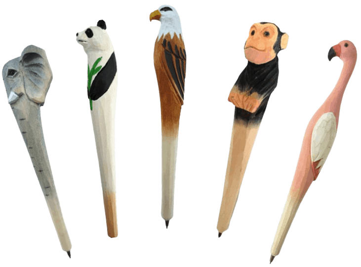 Custom woodpens in various animal designs and shapes.