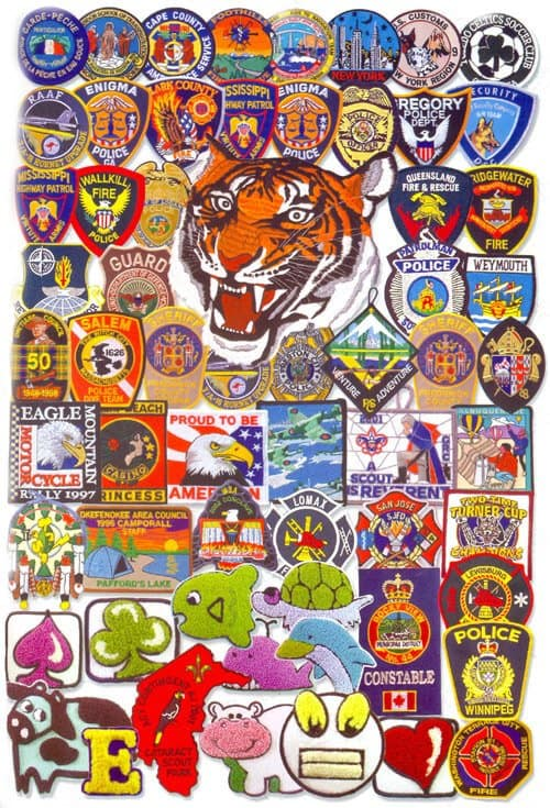 A huge picture which includees many different custom embroidered patch designs to help explore ideas and design inspirations from.
