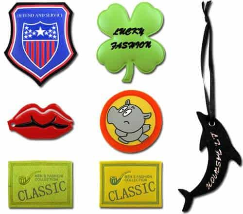 Examples of other clothing custom patches in other materials including PVC, felt and leather.