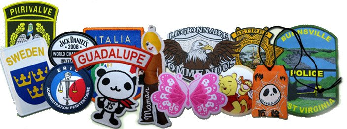 A selection of custom woven labels and mini patches in various materials, shapes and designs.