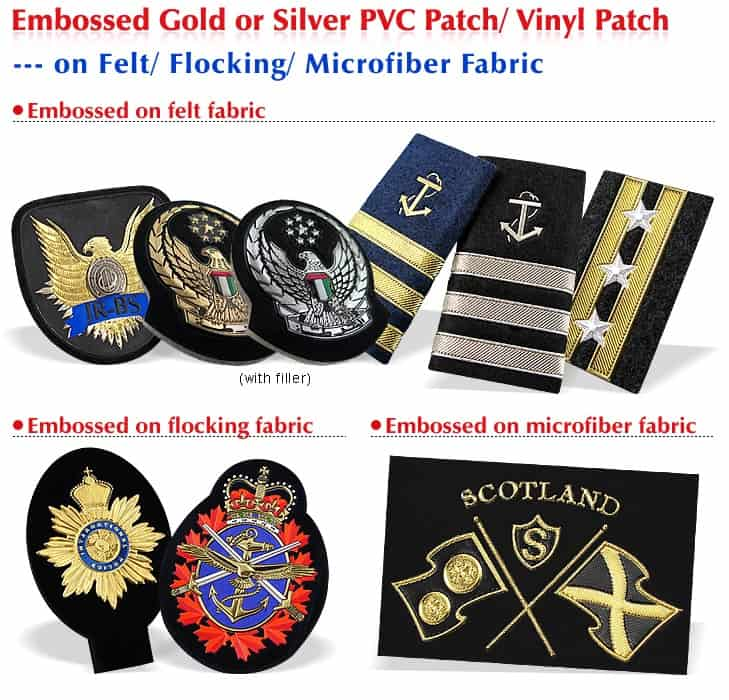 Custom soft PVC clothing patches with various material backing options.