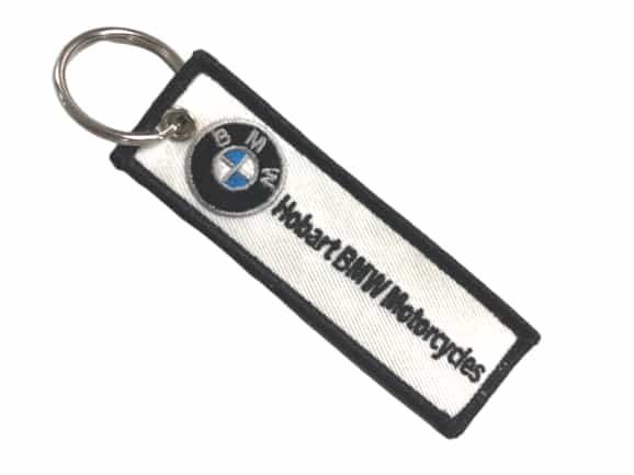 Custom embroidered keyring for a BMW motocycle dealership.