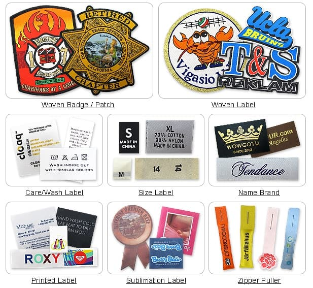 Example product applications of custom embroidered patches and woven labels.