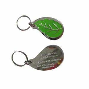 leaf shape thick custom keyring with customised design, shape, logo order wholesale