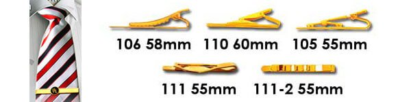 Tie clips are available in various clip shapes and sizing. This picture displays the various clip style options available from QW Direct.
