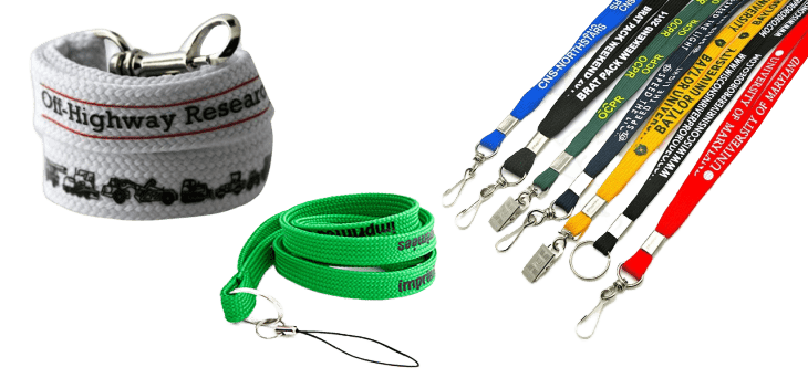Custom tube lanyards with various logos, attachments and colours. Great for design inspiration.
