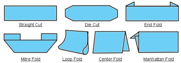 Available material fold options for custom woven labels.
