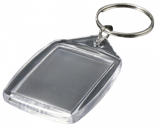 This is a rectangle shaped blank acrylic keyrings in size of 5.5 x 4.2cm. Idea for photograpghers to insert customers photos inside.