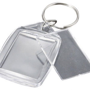 This is a rectangle shaped blank acrylic keyrings in size of 5.5 x 4.2cm and showing protective plastic window open.