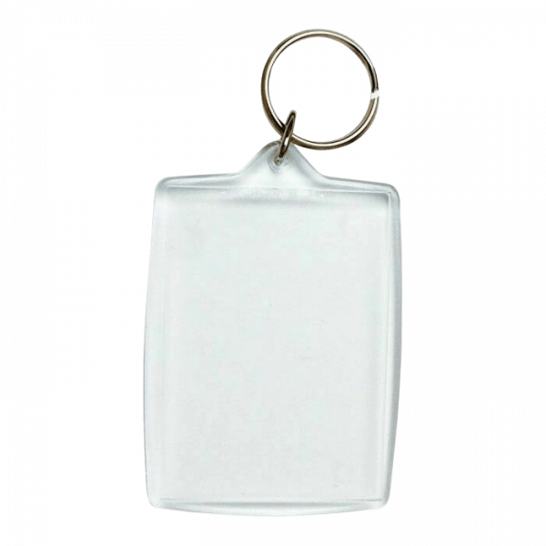 This is a rectangular shaped blank photo keyring in size of 5.5 x 4.2cm.