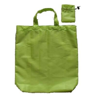 Green coloured personalised folding shopping bag in polyester with PU coating material. It has 1 colour logo printed and folds into a neat compact pouch. It is sewn in french double stiching for maximum durability.