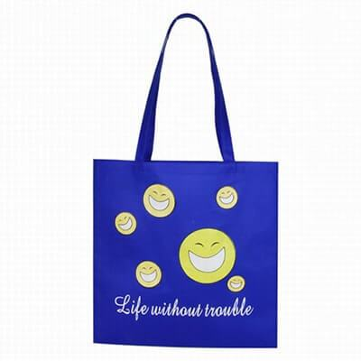 Custom non-woven shopping bag with yellow smiley faces pictured. The material is 80g pp Non-woven . Size: 37*42cm ; hand size: 2.5*60CM. Logo: silk-screen printing.