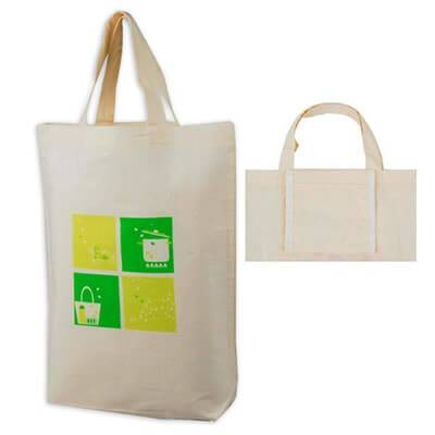 Folding printed cotton bag. This design can be folded into a smaller bag with a small inner pouch.