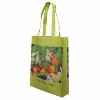 Non-Woven shopping bag with pictures of vegetables. Material: 110g PET Non-woven. Size: 37*42*8(gusset)cm. Logo: Heat-transfer printing