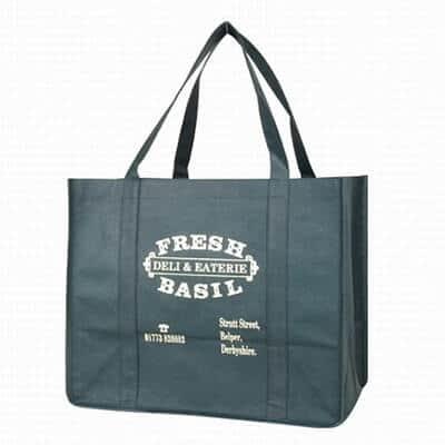Custom Non-Woven shopping bag. Material: 100g PP Non-woven. Size: 42*35*12(Gusset)CM. Logo: silk-screen printing, off-set printing.