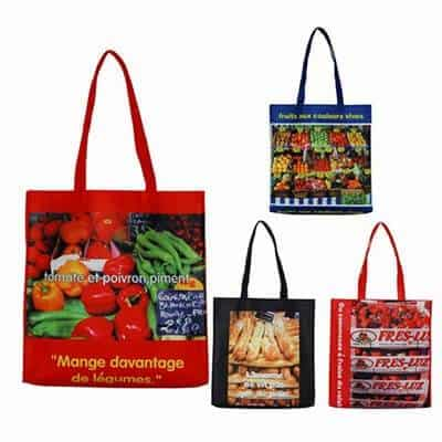 Non-Woven shopping bags examples. Material: 110g PP Non-woven. Size: 37 * 38 * 8CM. Logo: Heat transfer printing featuring full colour photos of various food items.
