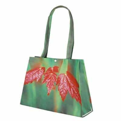 Non-Woven shopping bag with red leaf pictured. Material:110G PET non-woven. Size: (42+25)*25*10CM. Logo: heat-transfer printing process.