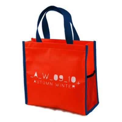 Red custom non woven bag. The material is 80gsm non-woven PP with lamination.